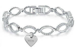 Swarovski® Bracelet Mum Crystals Linked Silver Charm Gift For Her Jewellery UK