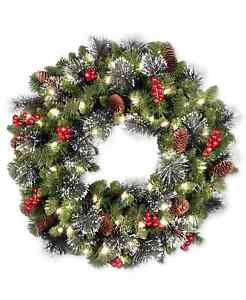 """NATIONAL TREE 24 """" CRESTWOOD SPRUCE PRELIT WREATH BATTERY 50 LED CONES BERRIES"""