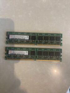 RAM HYNIX 2GB=2x1GO 2RX8 PC2 5300E-555-12 HYMP512U72CP8-Y5 AB-C Barrette Mémoire