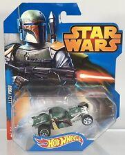 Hot Wheels Star Wars Character Cars Boba Fett Rat Rod 2014 Disney Blue Card Rare
