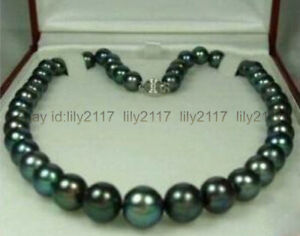 """Genuine 9-10mm Tahitian Black Natural Pearl Necklace 18"""" AAA Silver Clasp"""