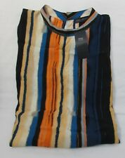 LADIES MARKS AND SPENCER ORANGE BLUE AND MULTI STRIPED LONG TOP SIZE 20