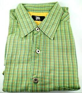 """JCB Short Sleeve Collared Dress Shirt Size M Chest: 47"""" or 119 cm Green Check"""