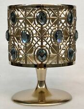 1 Bath Body Works BLUE GEM GOLD PEDESTAL Large 3 Wick Candle Holder Sleeve 14.5