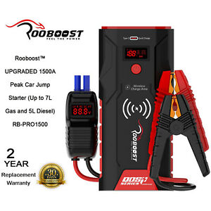 Rooboost Jump Starter 1500A Portable Power Bank And Wireless Charger