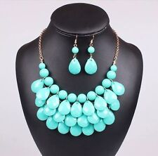 Gold Toned Aqua Turquoise Colored Acrylic Bead MultiLayer Necklace Earrings Set