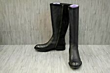 Born North Side Zip Leather Riding Boots, Women's Size 10M, Black