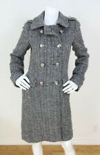 Coach Gray Wool/Alpaca/Mohair Metallic Boucle Double Breasted Long Coat Sz 4 S