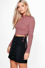Long Sleeve Casual Striped Crop Tops for Women