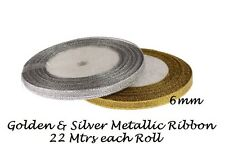 22 Meters Golden & Silver Metallic Ribbon 6mm wide Party , wedding cake decorate