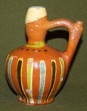 Vintage hand made redware pottery pitcher jug