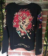 "ED HARDY Cashmere Sweater ""Beautiful Ghost"" Size XL RARE!! 🍒🎲☠️"