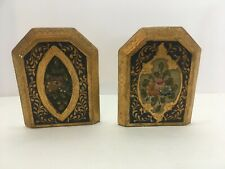 Pair Florentine Wooden Tole Bookends Gold Gilt Italian Hand Painted Italy Wood