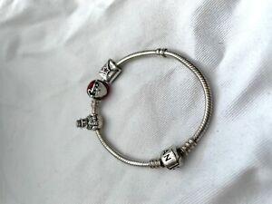Pandora sterling silver Christmas charm bracelet Santa snowman & letter charms