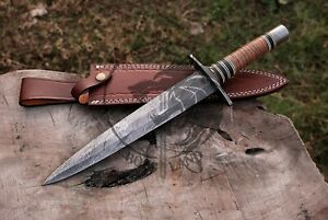 HANDMADE DAMASCUS STEEL BLADE DAGGER KNIFE,OUTDOOR KNIFE STACKED LEATHER HANDLE