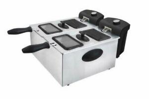 Kitchen Genie 2 x 3L Basket Deep Double Fryer 1800W Stainless Steel
