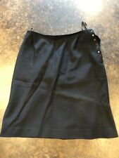 Alaia black wool side snap skirt S