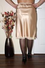 SEXY VINTAGE GOLD LIQUID SATIN & LACE SKIRT SLIP PETTICOAT Size Large