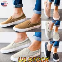 US Women Ladies Casual Sneakers Low Slip On Pumps Ankle Shoes Flat Heel Shoes