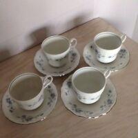 JOHANN HAVILAND BAVARIA GERMANY BLUE GARLAND (4) Coffee Cups and Saucers Set