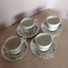 JOHANN HAVILAND BAVARIA GERMANY BLUE GARLAND (4) Coffee Cups and Saucers Set