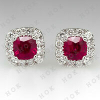 2.00 Ct Round Cut Ruby and Diamond Halo Stud Earrings 14k White Gold Finish