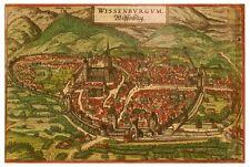 Wissembourg Bas-Rhin Alsace France bird's-eye view map Braun Hogenberg ca.1575