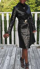 New NWT Unique designer NoLogo Italy  Shiny Black goat leather Coat jacket S 0-4
