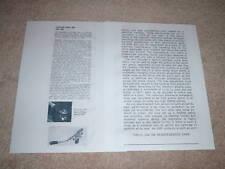 Shure SME 3009 Tone Arm Review, 1966, 2 pgs, RARE!
