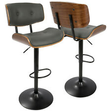Lombardi  Modern Adjustable Barstool in Walnut with Grey  Faux Leather