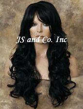Extra LONG HUMAN HAIR Blend  Wavy Heat SAFE Black Mix Wig WBNY 1