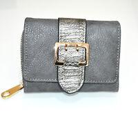 Portefeuille gris femme faux cuir porte-monnaie clutch bag sac cadeau wallet G6