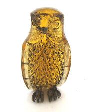 Vintage Japanese  amber netsuke -A  Forest OWL Bird,signed