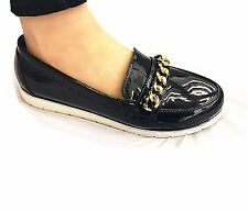 Girls & Young Ladies Vintage Chain Loafers Flat Office Shoes Brogues UK 6 /eu39 /us8 68 DK Blue