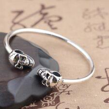 skull 925 Sterling Silver Thailand WOMEN men Bracelet Bangle cuff Jewelry  S44
