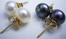 2 Pairs 12-12.5mm AAA White Black South Sea Pearl 14K gold earrings AAA