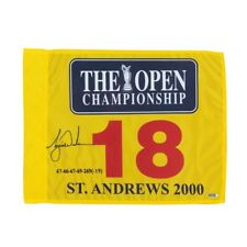 Tiger Woods Signed Autographed 2000 British Open Pin Flag Embroidered #/500 UDA