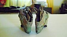 "Antique Chinese Hand Embroidered Tiny Bound Lotus Shoes ""Golden Lily"" 3 1/2"""