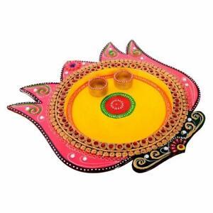 "Lotus Design Multicolored Wooden Puja Thali Decorative Pooja Plate Set 12x12"""