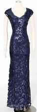 Tadashi Shoji Midnight Blue Maxi Dress Size 12 Sequined Cocktail Women's New*