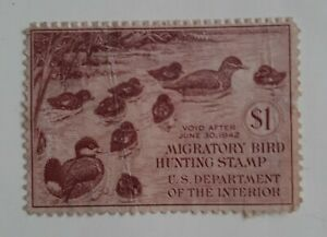 RW8  $1 US Duck Hunting Permit License US Stamp 1941 Fine Used previously hinged