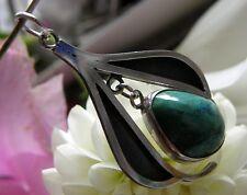 Designer Anhänger 930° Silber Tropfen echter grüne Türkis im Art Dèco 1960 A256