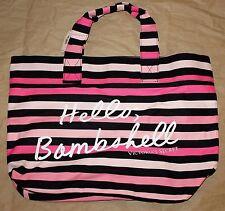 "Victoria's Secret Pink & Black Striped ""Hello Bombshell"" Weekend Beach Tote Bag"