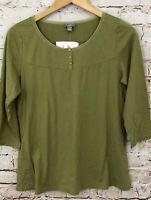 J Jill shirt top womens medium new 3/4 slv green henley velvet trim A1