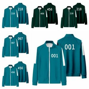 HOT Squid Game Jacket Casual Fashion Adult Autumn Stand-Up Collar Zipper Sweater
