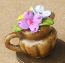 1:12 Scale Single Mixed Hand Painted Ceramic Flowers In A Jug Tumdee Dolls House