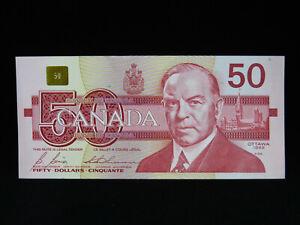 1988 $50 Dollar Bank of Canada Banknote Bill FHP 5570926 Bonin Thiessen AU Grade