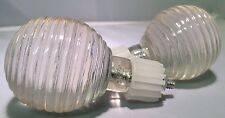 Pair of Glass Style Clear Transparent Ribbed Ball Curtain Finials -