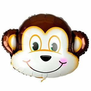 24'' Brown/White Foil Monkey Balloons Safari Animal Decorations Mylar Balloon