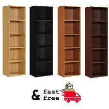 5-Shelf Wooden Slim Bookshelf Furniture Bookcase Storage Shelving, MultiColors